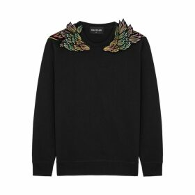 RAGYARD Black Embroidered Cotton-blend Sweatshirt
