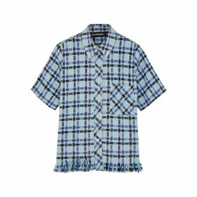 Filles à Papa Blue Checked Brushed Cotton Shirt
