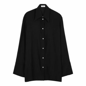 Serena Bute Black Longline Silk-satin Shirt