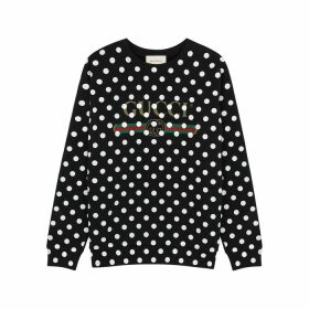 Gucci Polka-dot Logo Cotton Sweatshirt
