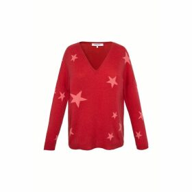 Gerard Darel V-neck Cashmere Sweater With Star Print