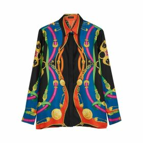Versace Black Printed Silk Blouse