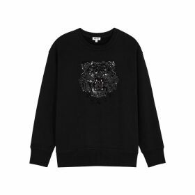 Kenzo Black Tiger-embellished Cotton Sweatshirt