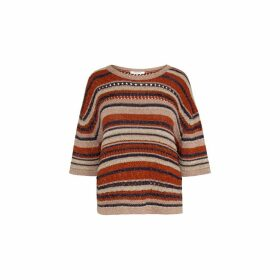Gerard Darel Short Sleeve Multi-colored Knit And Lurex Sweater