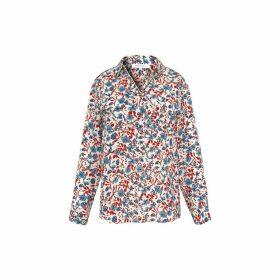 Gerard Darel Floral Print Silk Crepe De Chine Shirt