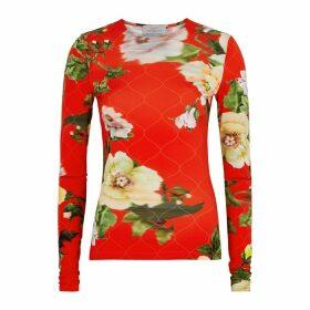 Preen By Thornton Bregazzi Xandria Floral-print Stretch-jersey Top