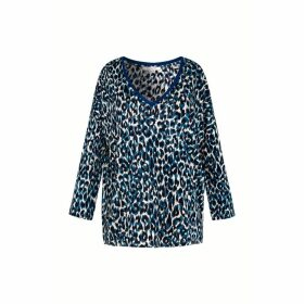 Gerard Darel Long Sleeve Animal Print Linen T-shirt