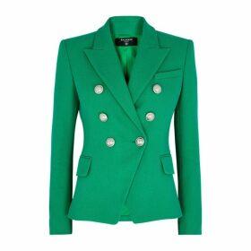 Balmain Green Double-breasted Cotton Blazer