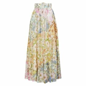 Zimmermann Super Eight Floral-print Cotton-blend Maxi Skirt