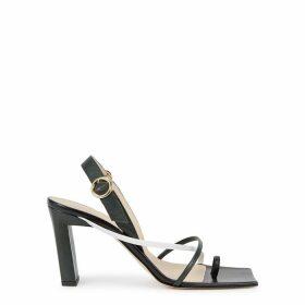 Wandler Elza 90 Dark Green Leather Sandals