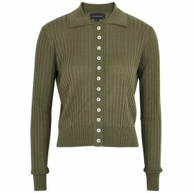 Lee Mathews Dark Green Rib-knit Cardigan