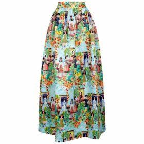Alice + Olivia Tina Printed Satin Maxi Skirt