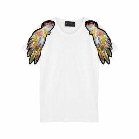 RAGYARD White Parrot-appliquéd Cotton T-shirt