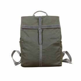 Touri - Fold-Over Waxed Canvas & Leather Backpack In Army Green