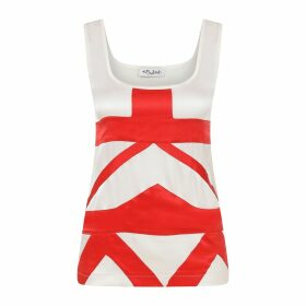 Kith & Kin - Red White Geometric Silk Top