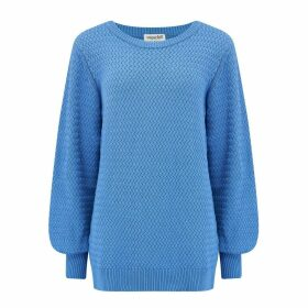 Sugarhill Brighton - Seren Blue Lattice Balloon Sleeve Sweater