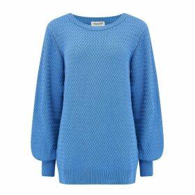 Sugarhill Brighton - Seren Blue Lattice Balloon Sleeve Sweater