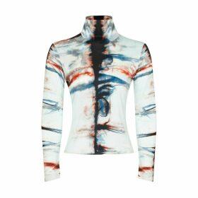 Riona Treacy - Silk Tie Dye Long Sleeve Turtleneck Top