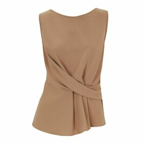 Me & Thee - Double Trouble Camel Pleat Front Crepe Top