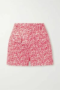 Solid & Striped - Floral-print Broderie Anglaise Cotton Shorts - Tomato red
