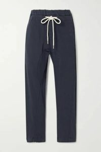 Bassike - Cropped Organic Cotton-jersey Track Pants - Midnight blue