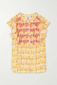 Figue - Janae Ruffled Bead-embellished Embroidered Printed Cotton-blend Blouse - Yellow