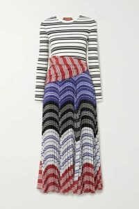 Altuzarra - Woodbine Striped Ribbed-knit And Pleated Crepe De Chine Midi Dress - Ivory