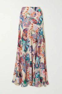 Paco Rabanne - Printed Satin Maxi Skirt - Pink