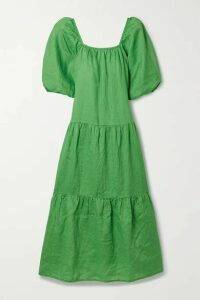 Solid & Striped - Peasant Tiered Crinkled-linen Maxi Dress - Green