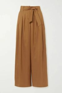 Max Mara - Arten Pleated Silk-shantung Wide-leg Pants - Camel