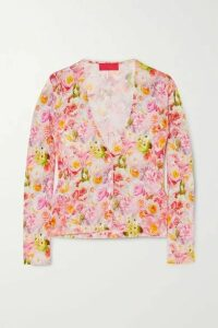 Commission - Floral-print Stretch-jersey Cardigan - Pink