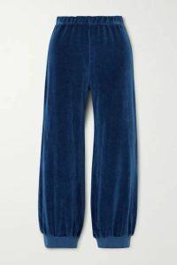 Suzie Kondi - Stretch Cotton-blend Velour Track Pants - Navy