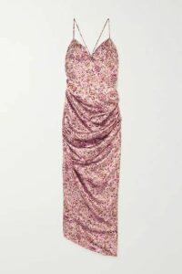 Raquel Diniz - Kate Ruched Floral-print Silk-satin Maxi Dress - Pink