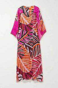 Emilio Pucci - Cape-effect Printed Silk-georgette Maxi Dress - Orange