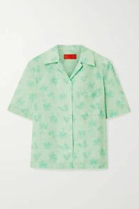 Commission - Floral-print Cotton-voile Shirt - Mint