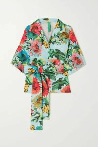 RIANNA + NINA - Belted Printed Stretch-cotton Piqué Blouse - Ecru
