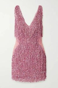 Naeem Khan - Gatsby Embellished Chiffon Mini Dress - Pink