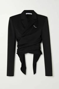 Off-White - Draped Embroidered Gabardine Wrap Jacket - Black