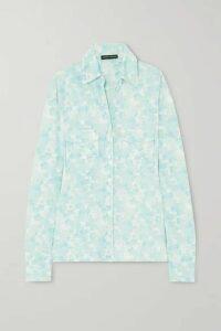 Kwaidan Editions - Floral-print Stretch-jersey Shirt - Light blue