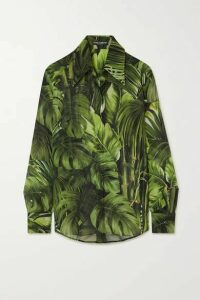 Dolce & Gabbana - Printed Silk-chiffon Shirt - Green