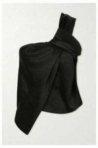 Nanushka - Manon One-shoulder Knotted Washed-satin Top - Black