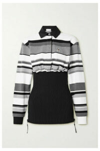 Burberry - Appliquéd Striped Cotton-piqué And Ribbed-knit Top - Gray