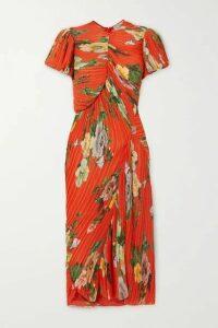 Preen by Thornton Bregazzi - Meggy Floral-print Plissé-georgette Midi Dress - Red