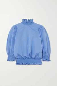 AVAVAV - Ruffled Smocked Cotton-poplin Top - Blue