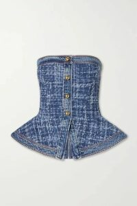 Philosophy di Lorenzo Serafini - Denim And Bouclé Peplum Bustier Top - Mid denim