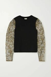 Dries Van Noten - Hoven Embellished Tulle And Cotton-blend Jersey Top - Black