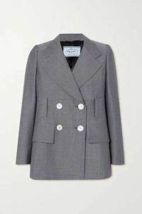 Prada - Double-breasted Mohair And Wool-blend Blazer - Gray