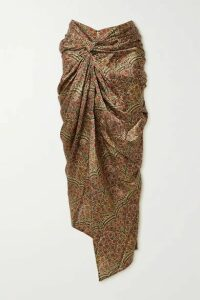 Khaite - Louie Draped Floral-print Twill Midi Skirt - Gold