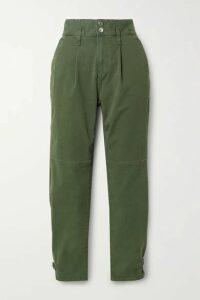 Veronica Beard - Monika Stretch-cotton Twill Tapered Pants - Army green