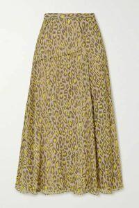 Theory - Leopard-print Silk-crepon Midi Skirt - Tan